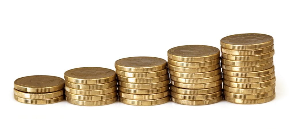 Groing stack of coins |Featured Image For Cash Rate Remains at Historic Low - June 2017 blog
